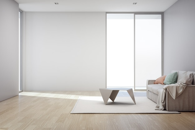 Wooden floor with empty gray concrete wall background in living room at modern new house, Premium Photo