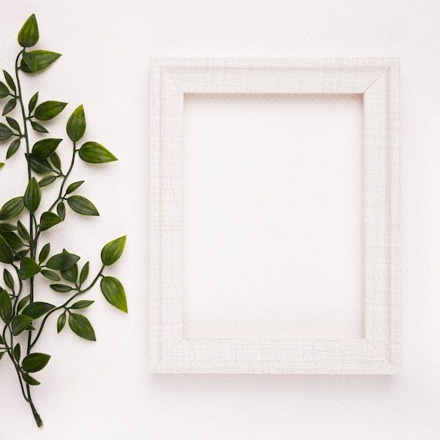 Wooden frame near the twigs on white backdrop Free Photo