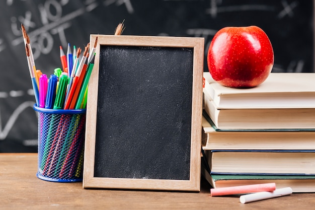 Wooden frame at teacher desk Free Photo