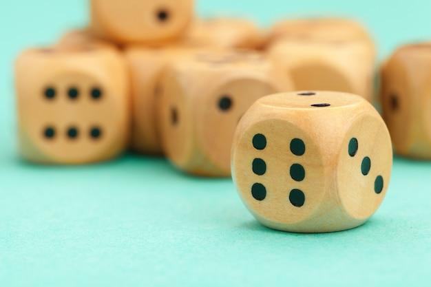 Wooden gaming dices. game concept. Premium Photo