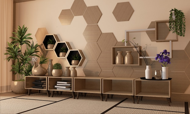 Wooden hexagon shelf and tiles on wall and wooden cabinet and wooden vase decoration on tatami mat floor, 3d rendering Premium Photo