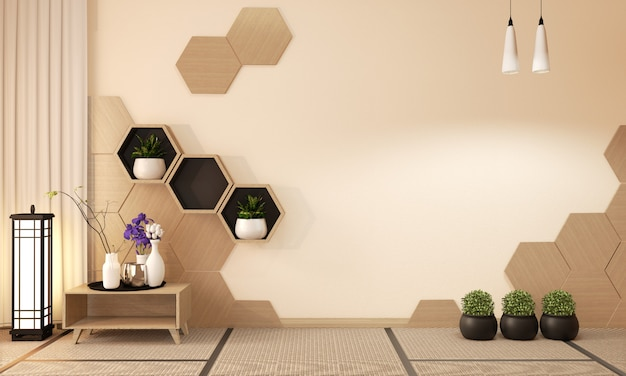 Wooden hexagon shelf and wooden hexagon tiles, decoration japanese style, 3d rendering Premium Photo