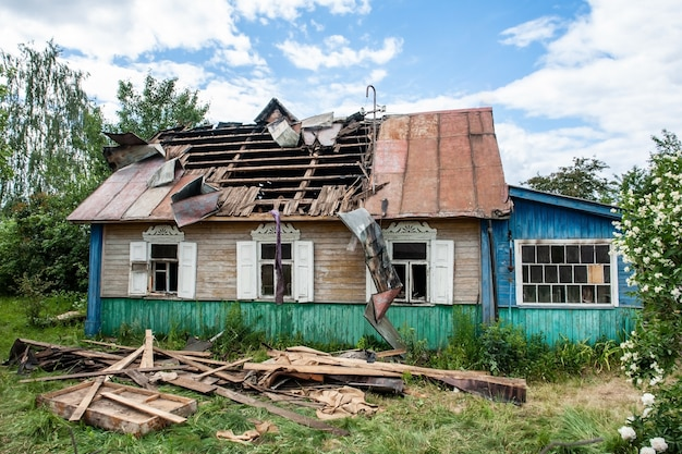 Wooden house after a fire Premium Photo