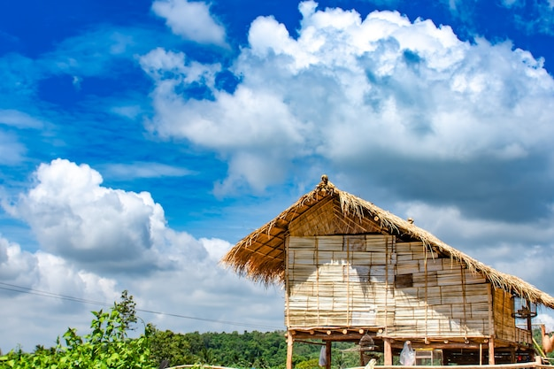 Wooden houses built with materials are natural and clear sky Premium Photo