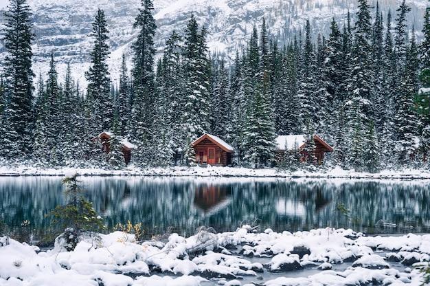 ヨホ国立公園のオハラ湖に雪の反射が激しい松林の木造ロッジ Premium写真
