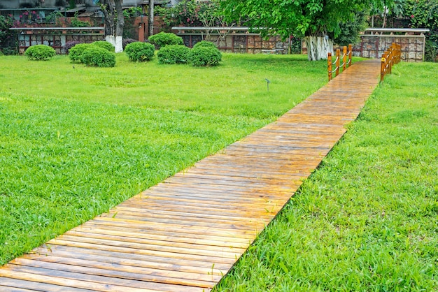wooden path and green grass photo free download