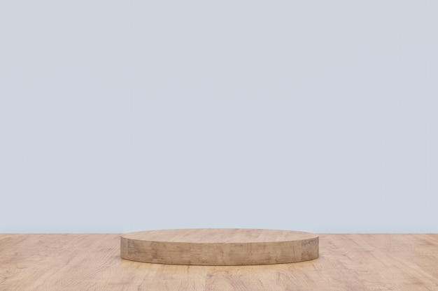ディスプレイ用の木製台座。幾何学的形状の空の製品スタンド。 3 dのレンダリング。 Premium写真