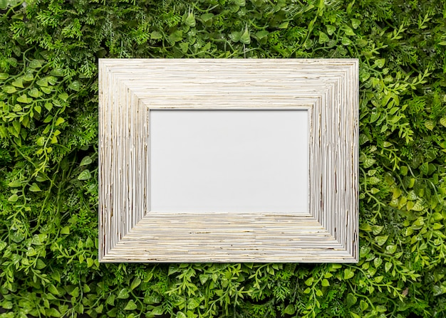 Wooden picture frame on green foliage Free Photo