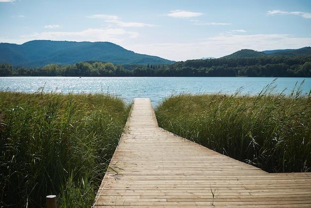 Wooden pier on lake Free Photo