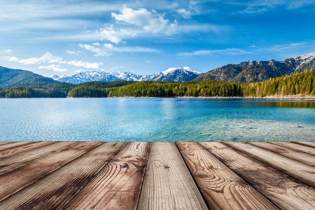 Wooden planks background with lake, germany Premium Photo