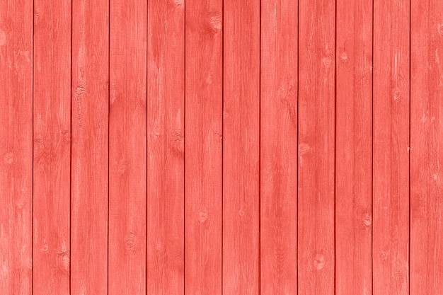 Wooden planks painted trendy coral color of the year 2019, background, texture Premium Photo