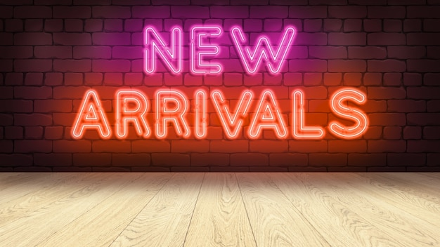 상품을 표시하기위한 나무 연단 테이블. 벽돌 벽에 네온 사인, 새로운 도착 3d 렌더링. 고품질 일러스트레이션 프리미엄 사진