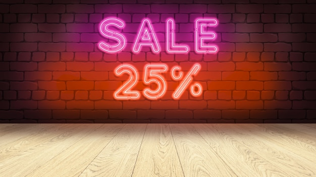 상품을 표시하기위한 나무 연단 테이블. 벽돌 벽에 네온 사인, 판매 25 퍼센트 3d 그림 프리미엄 사진