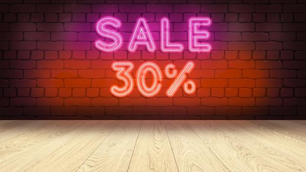 상품을 표시하기위한 나무 연단 테이블. 벽돌 벽에 네온 사인, 판매 30 퍼센트 3d 그림 프리미엄 사진