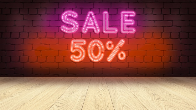 상품을 표시하기위한 나무 연단 테이블. 벽돌 벽에 네온 사인, 판매 50 퍼센트 3d 그림 프리미엄 사진
