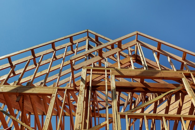 Wooden roof construction, home, house building Premium Photo