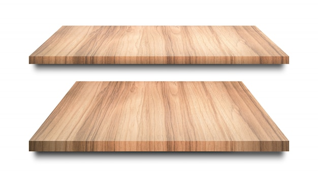 Wooden shelves isolated on white Premium Photo