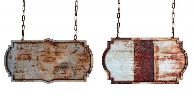 Wooden sign frame border vintage label isolated on white background Premium Photo