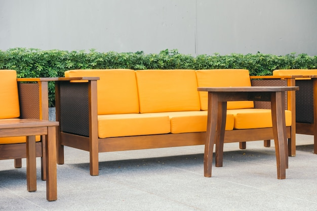 Wooden sofa and chair Free Photo