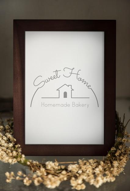 Wooden standing photo frame mockup Premium Photo