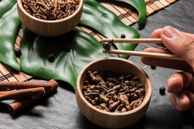 Wooden sticks holding crispy bug Free Photo