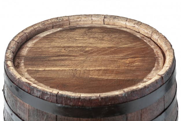 Wooden surface barrel with iron rings isolated Premium Photo