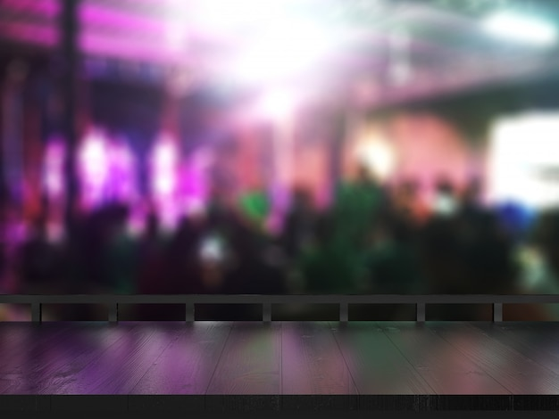 Wooden table on blurred club background. Premium Photo