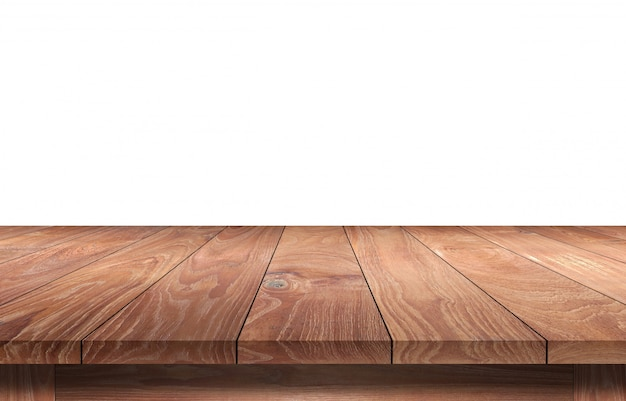 Wooden table isolated on white. Premium Photo