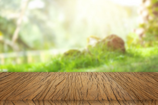 木製のテーブル、デザインのビューの背景。 無料写真