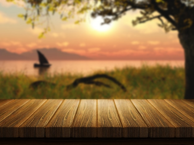 Wooden table with a defocussed image of a boat on a lake Free Photo