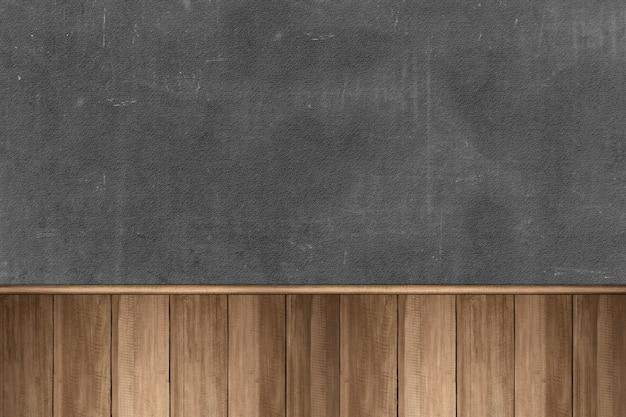 黒い壁の背景と木製のテーブル Premium写真