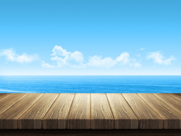 Wooden table with ocean landscape in background Free Photo