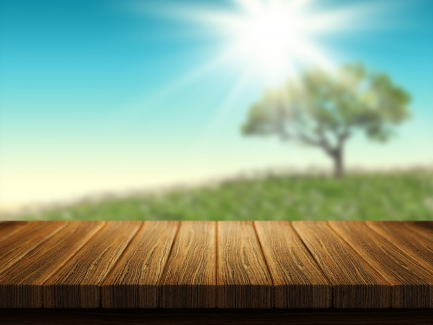 Wooden table with tree landscape in background Free Photo