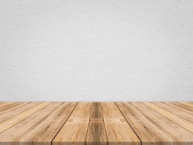 Wooden tabletop at tropical paper texture wall,template mock up for display of product,business presentation. Free Photo