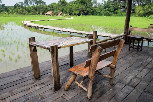 Wooden Terrace Near Paddy Rice Field Photo Premium Download