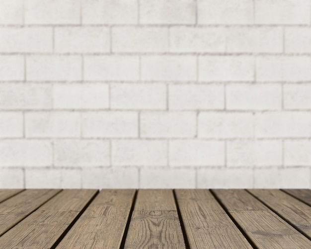 Wooden texture looking out to rough brick wall Premium Photo