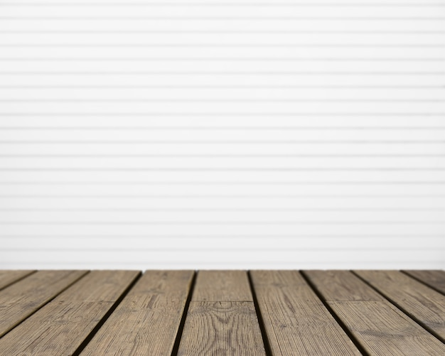 Wooden texture looking out to white striped wall Free Photo