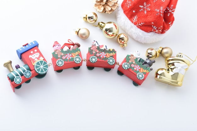 Wooden toy train with colorful blocs, happy new year