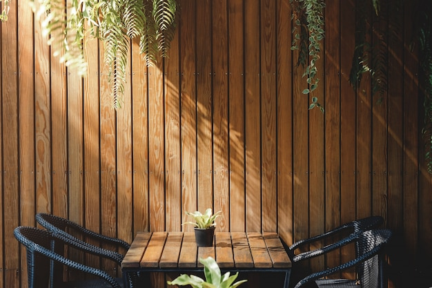 Wooden wall in restaurant and cafe, contemporary interior design. natural daylight Premium Photo