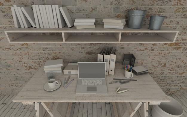 Wooden workspace design Free Photo