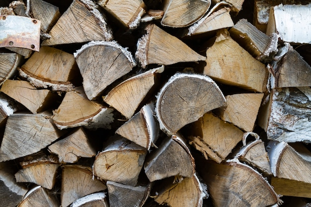 Woodpile in countryside close up Premium Photo