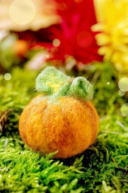 Шерстяное валяние тыква хэллоуина на мхе. осеннее сезонное приветствие хэллоуина Premium Фотографии