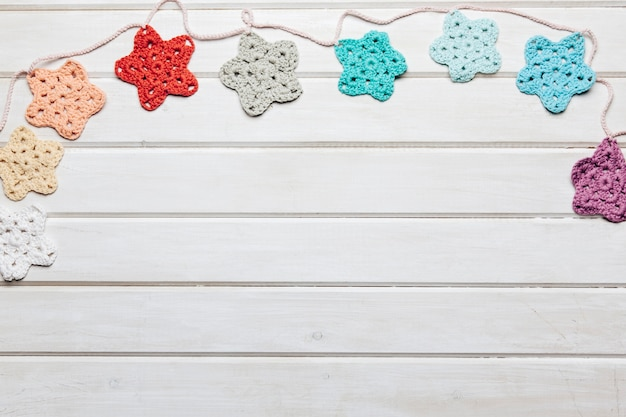 Wool stars decoration with space on bottom Free Photo