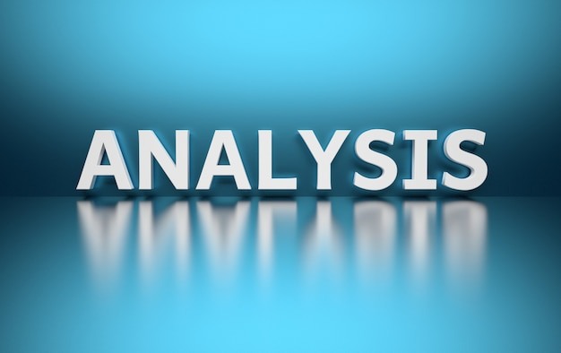Word analysis written in large bold white letters and placed on blue Premium Photo