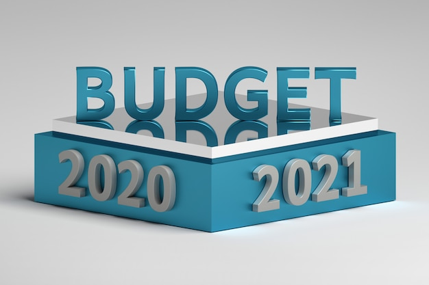 Word budget on a podium with 2020 and 2021 year numbers Premium Photo