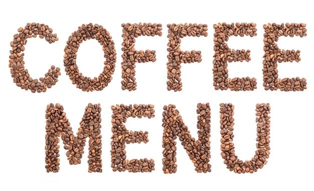 The word coffee menu made of beans. Premium Photo