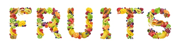 Word fruits made of different fruits and berries Premium Photo