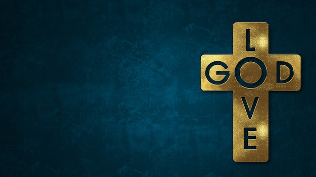 The word god love concept written in gold texture on ...