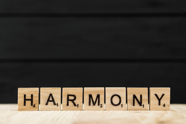 The word harmony spelt with wooden letters Free Photo
