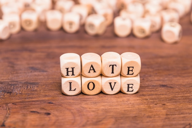 The word love and hate arranged with wooden cubes Free Photo
